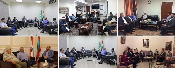 حماس تجول على فعاليات صيدا وتعرض معهم الوضع الفلسطيني العام وتناقش قضية عدم تسجيل الطلاب الفلسطينيين في المدارس الرسمية